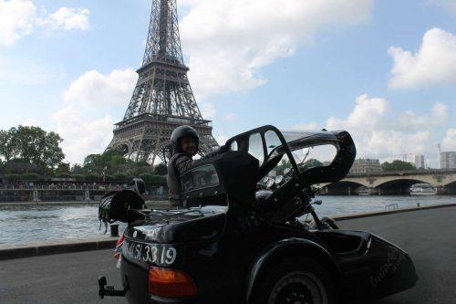 Idée Cadeau Pariside Ivry-sur-Seine Side Car devant Tour Eiffel